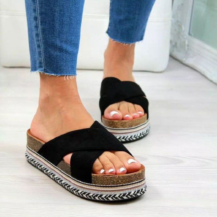 Women's Casual Cross Band Peep Toe Platform Slippers