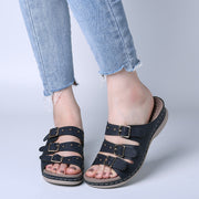 Women's Opened Toe Buckle Beach Wedges Casual Slide Sandals