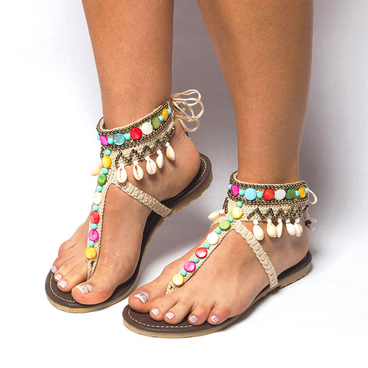 Women's Comfy Boho Beaded Thong Toe Sandals Flip Flops