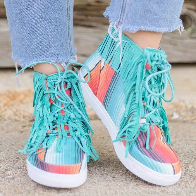 Women's Serape Fringe Faux Suede Casual Lace-Up Sneakers