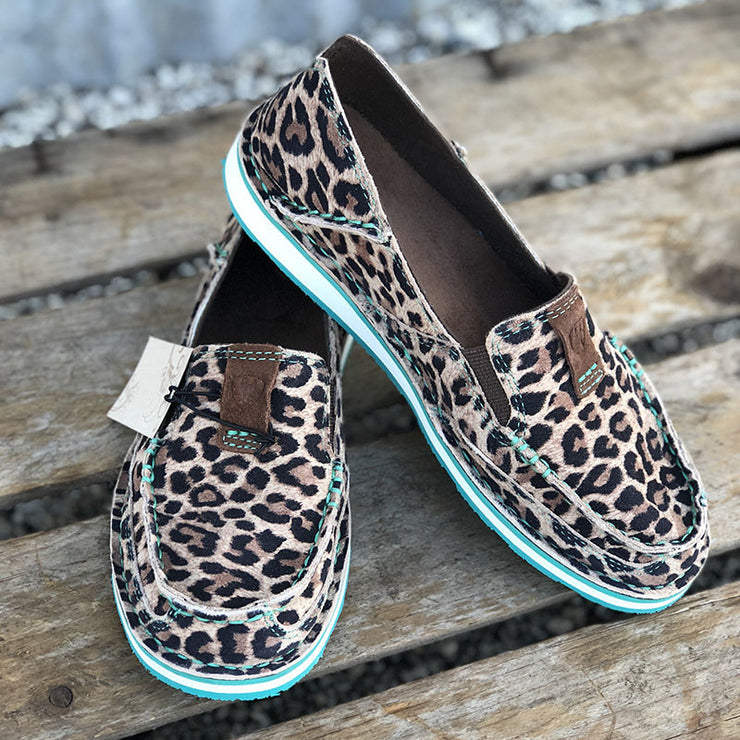 Women's Comfy Suede Leopard Slip-On Loafer