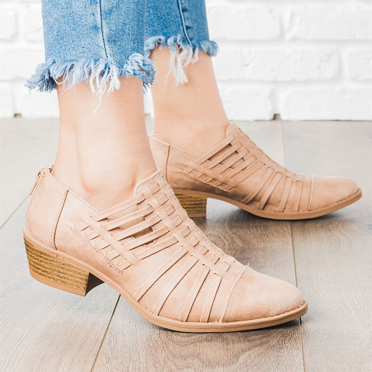 Women's Leather Strappy Heel Booties