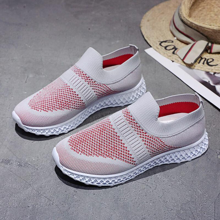 Women's Athletic Flyknit Fabric Slip On Breathable Platform Sneakers