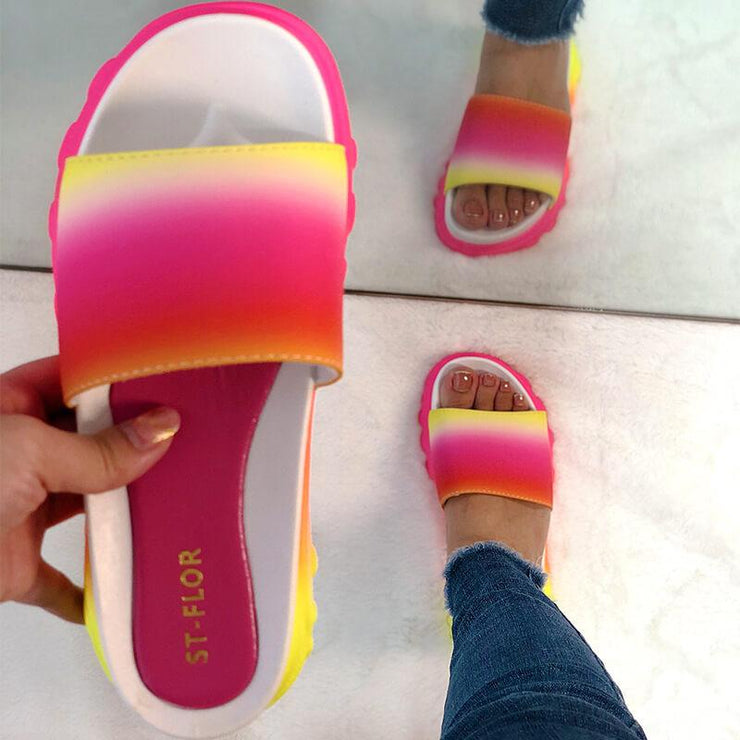 Women's Comfy Colorful Open Toe Slip On Platform Slippers
