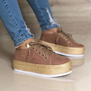 Women's Casual Lace-up Espadrille Platform Sneakers