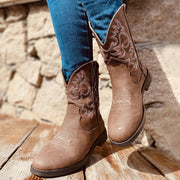 Woman's Artificial Leather Elastic Band Low Heel Western Boots