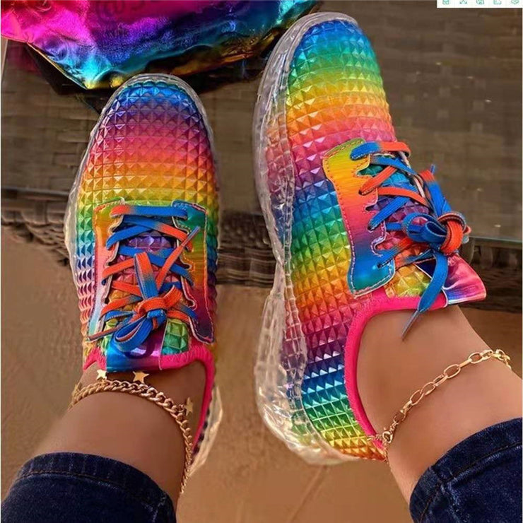Women's Personalized Candy Color Crystal Sole Sneakers