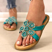Women's Fashion All-Match Petal Diamond Beads Breathable Sandals