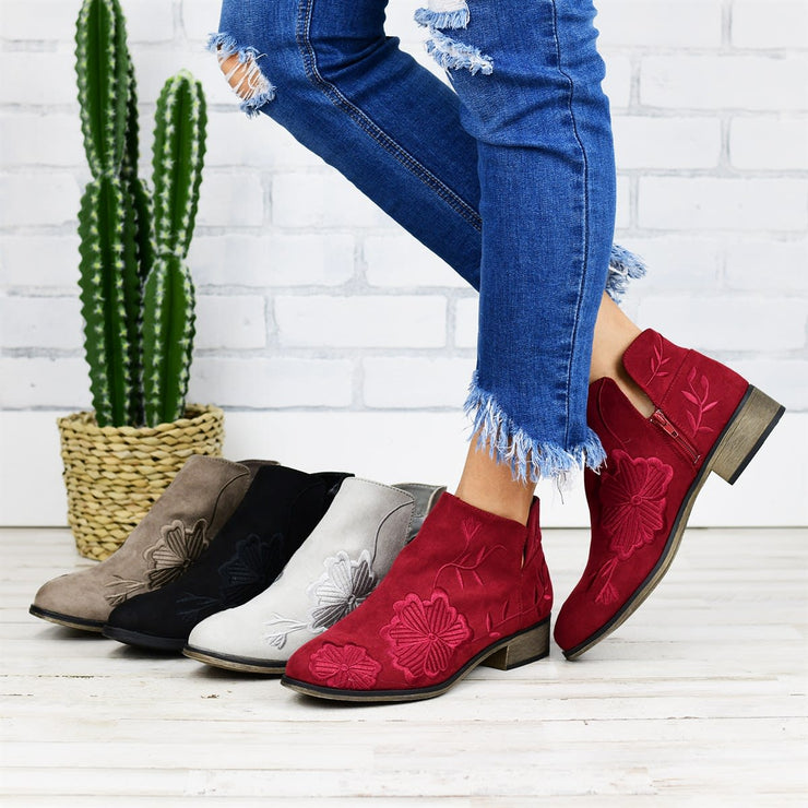 Women's Vintage Embroidered Floral Suede Bootie
