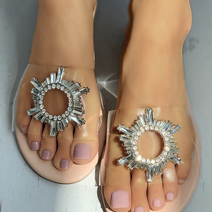 Women's Casual All-Match Pvc Slippers With Rhinestone Decoration
