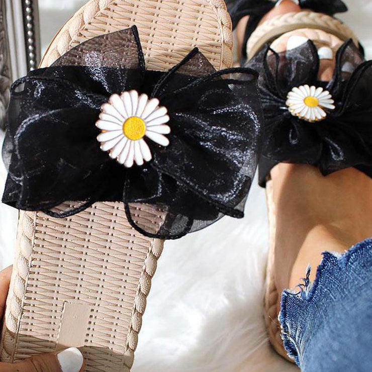 Flower pattern open-toe sandals and slippers flat sandals