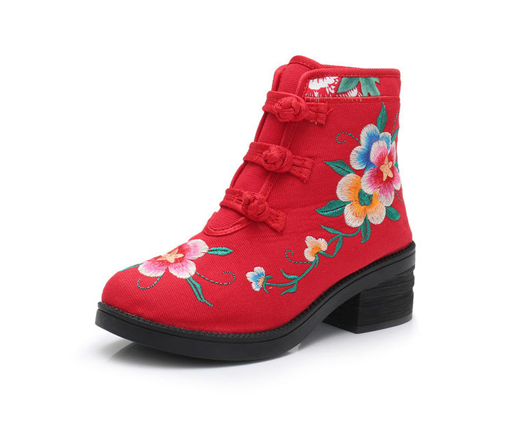 Women's Ethnic Style Embroidered Soft Cotton Platform Ankle Boots