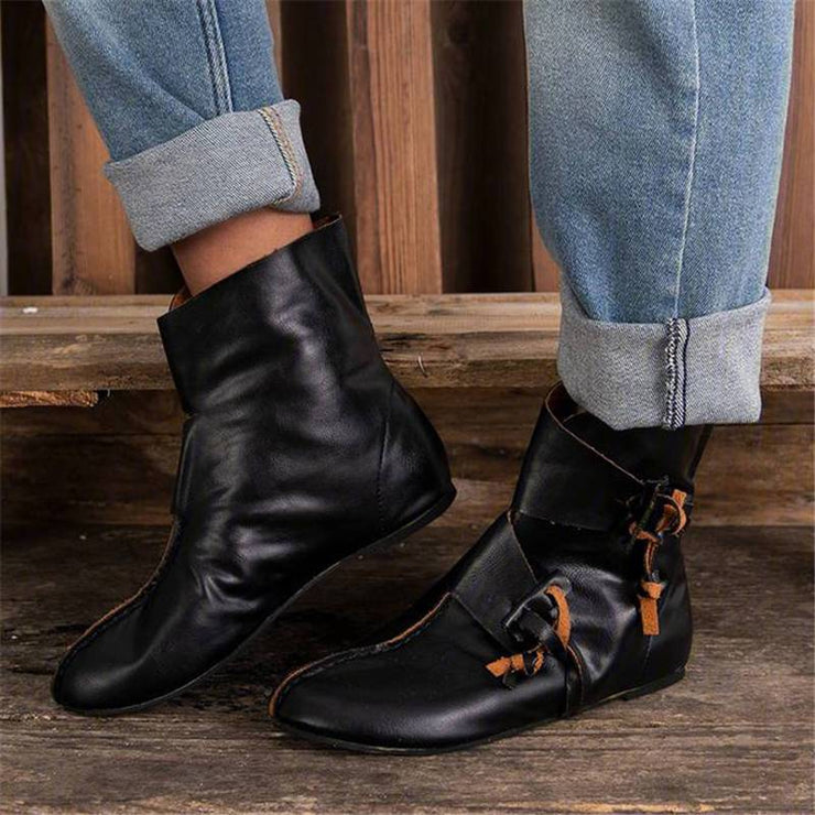 Women's Retro Cool Slip On Flat Heel Medieval Boots
