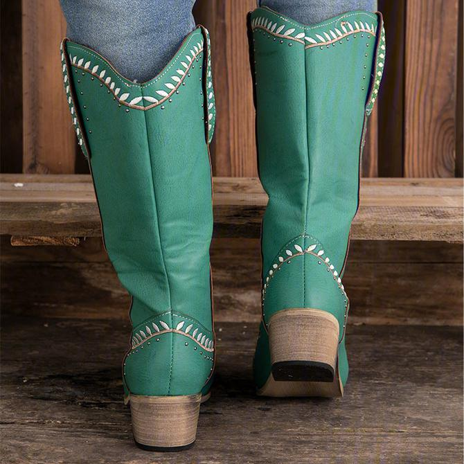 Women's Green Block Heel Embroidery Fall Boots