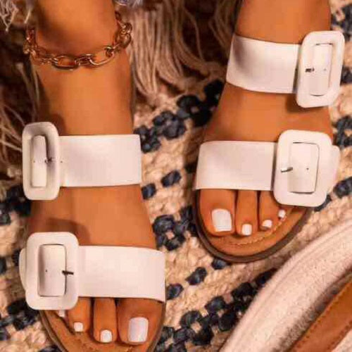Women's  Soft Flat Sandals With Square Buckle