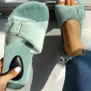 Women's Comfy Fluff Slip-on Slides