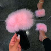 Women's Chic Faux-Fur Strap Slippers