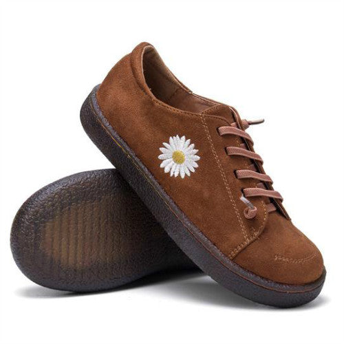 Women Daisy Decor Elastic Band Non Slip Soft Sole Casual Lazy Slip On Flat Shoes