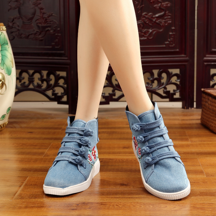 Women's Ethnic Style Embroidered Inner Buckle High-Top Sneakers