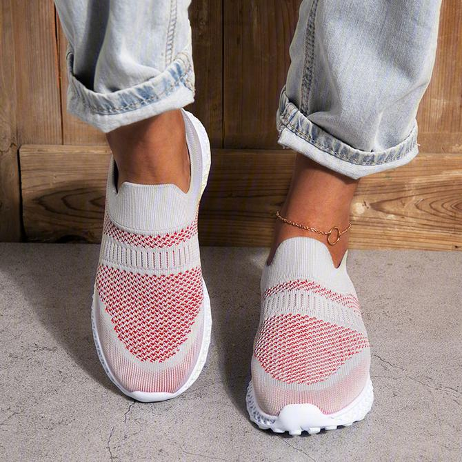 Women's Elastic Flyknit Fabric Slip On Walking Shoes Platform Sneakers