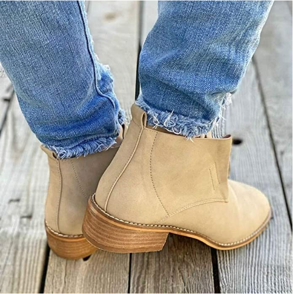 Large Size Metal Block Zipper Fashion Short Boots