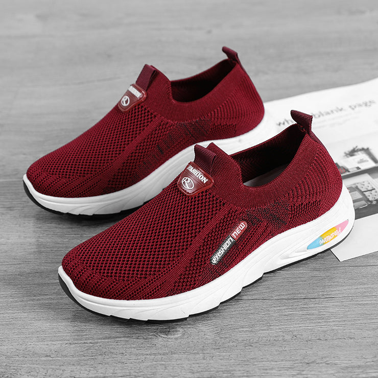 Women Casual Sports Shoes Light Breathable Hollow Mesh Slip On Sneakers