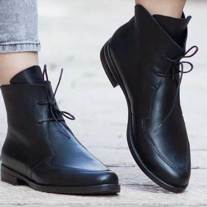 Women's Stylish  Flat Color Block Ankle Boots