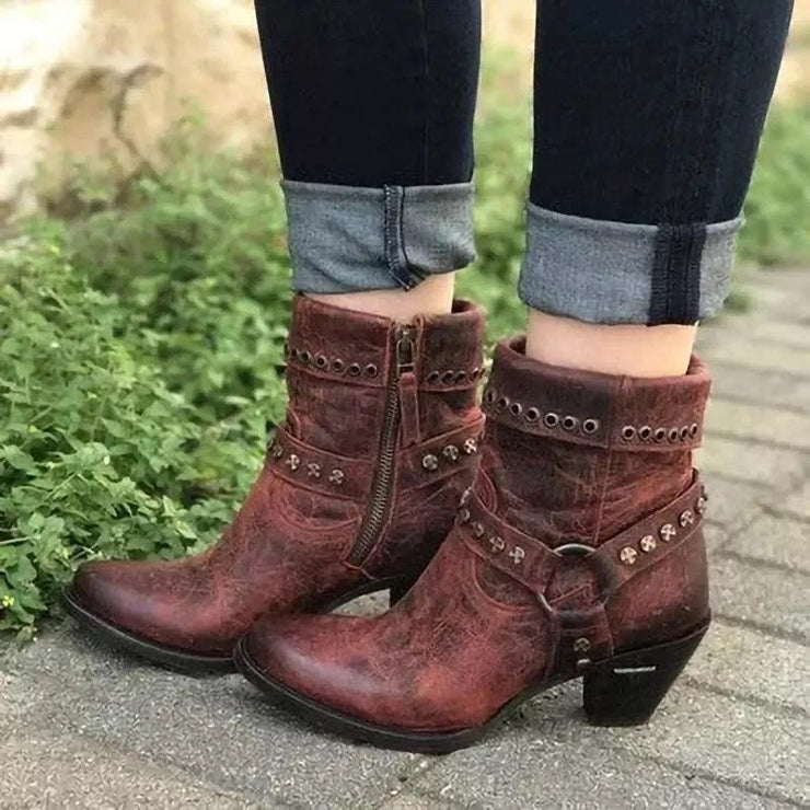 Women's Retro Street Style Rivet Ring Block Heel Short Boots