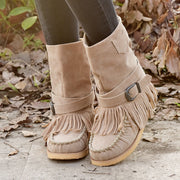 Women's Vintage Tassel Large Size Buckle Handmade Ethnic Cotton Boots