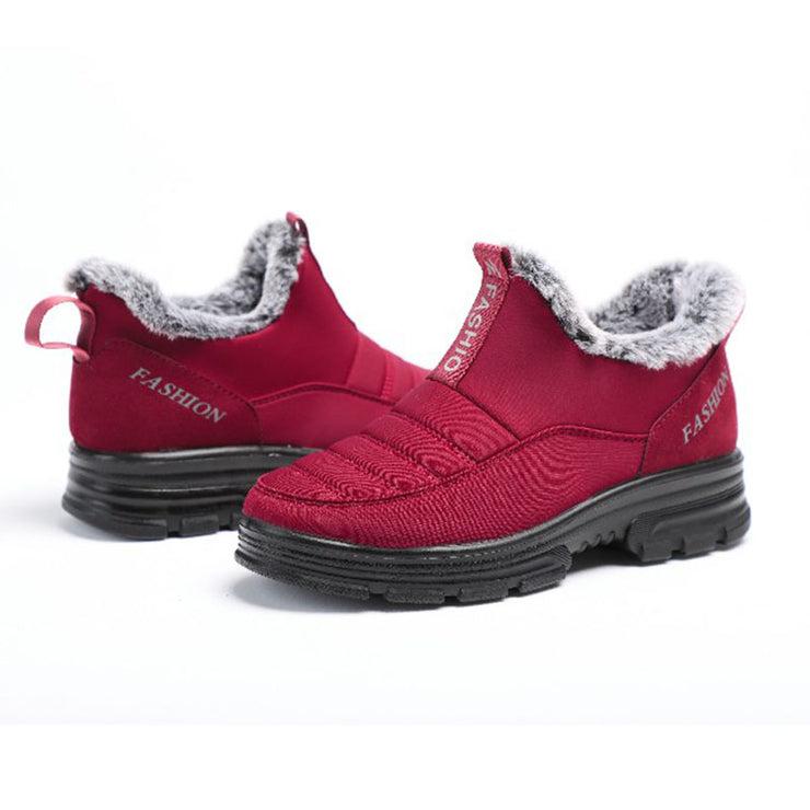 Women's Waterproof Cloth Large Size Non-slip Snow Boots With Warm Lining