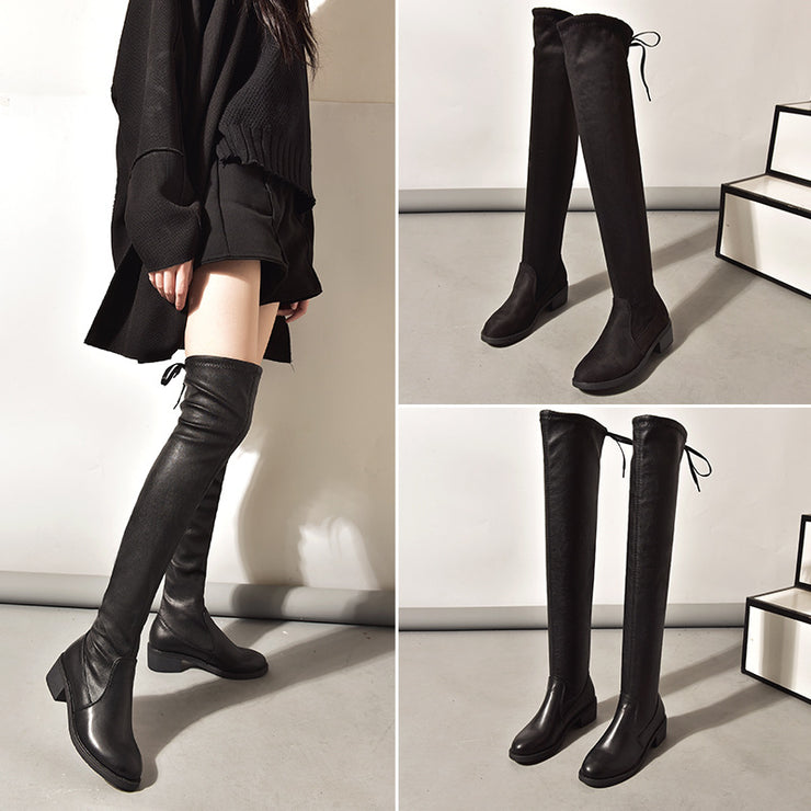 Women's stovepipe artifact boots plus velvet flat elastic leather boots