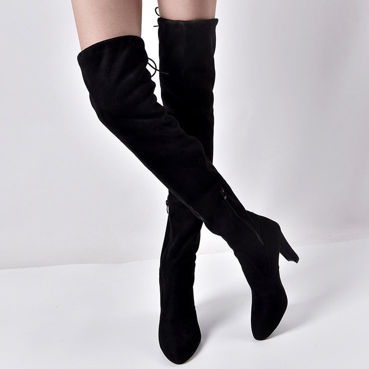 Women's pointed thick heel side zipper over-the-knee boots