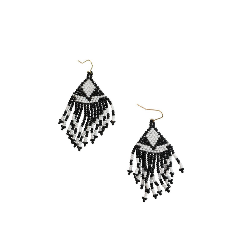 Hand beaded, black and white bohemian earrings.