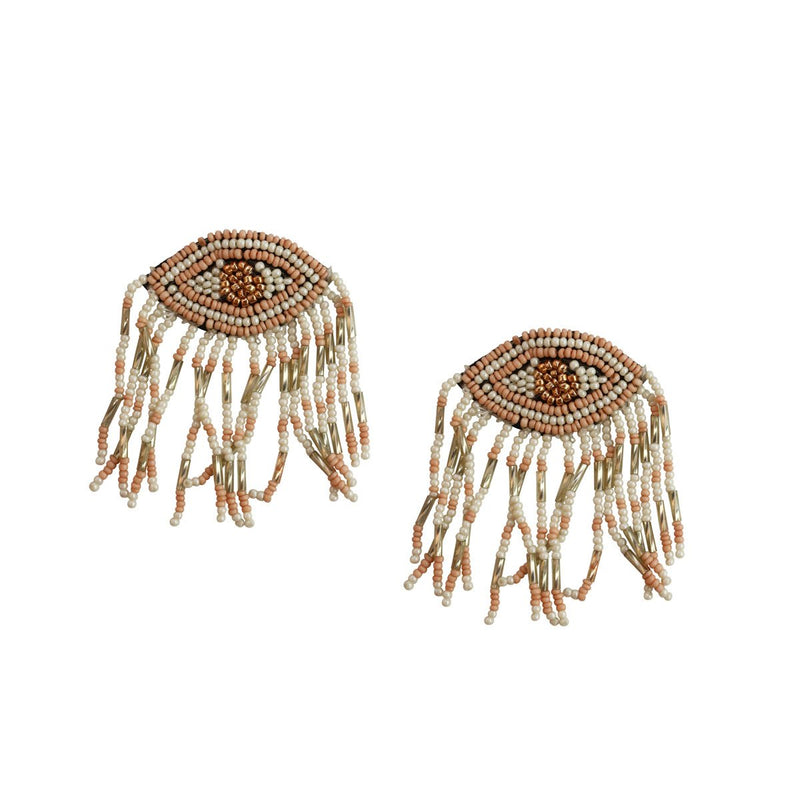 Hand beaded, ivory, evil eye, tassel earrings with bronze details.