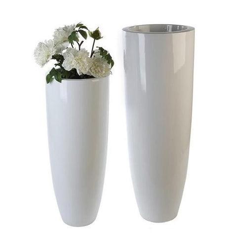 Rocco Large Fibre Glass White Glazed Planter £129