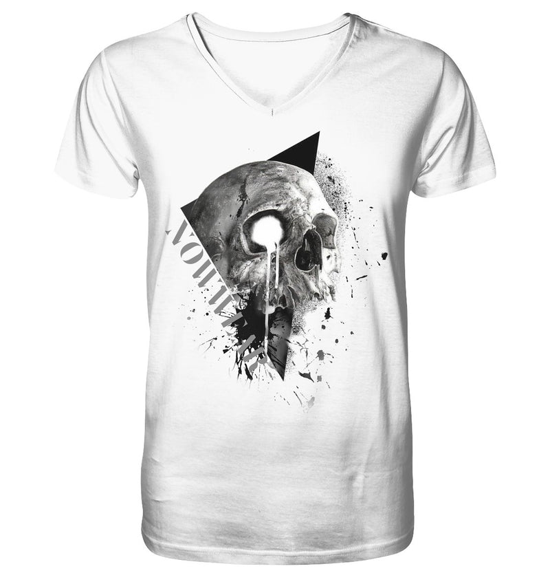 Big Skull V-Neck - Mens Organic V-Neck Shirt - noWWear by Pink Tattoo