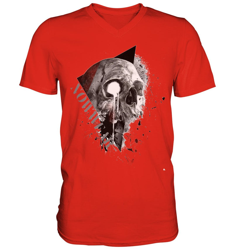 Big Skull V-Neck - Mens V-Neck Shirt - noWWear by Pink Tattoo