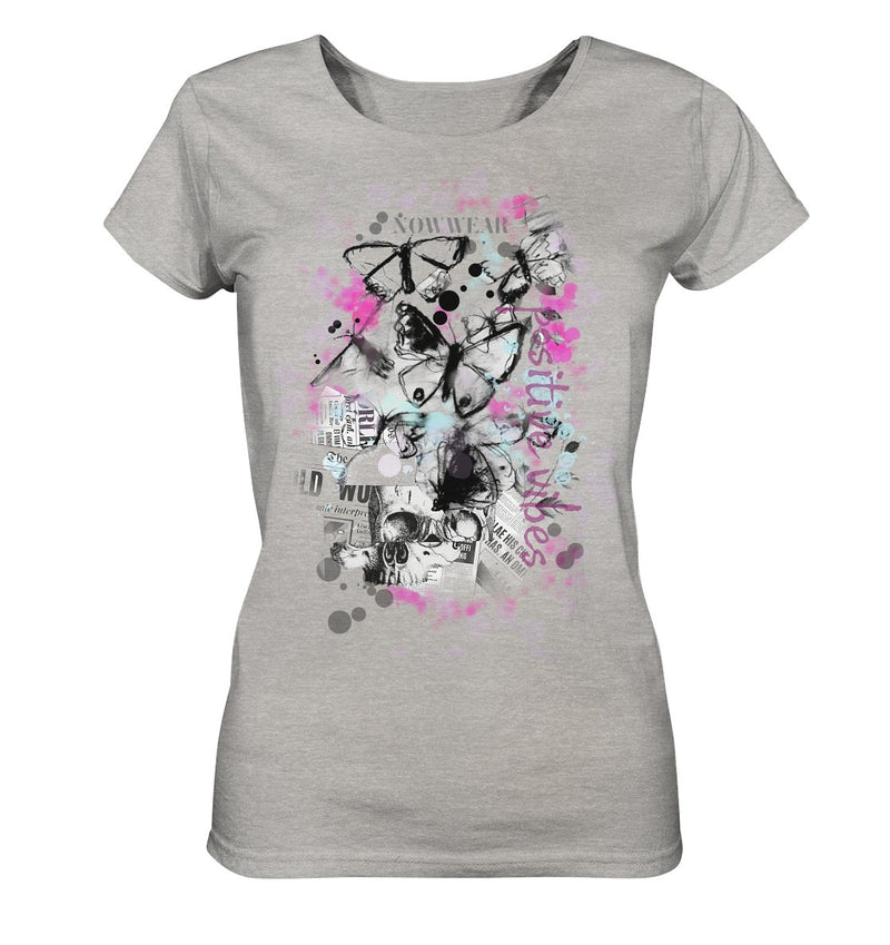 Butterfly T-Shirt - Ladies Organic Shirt (meliert) - noWWear by Pink Tattoo