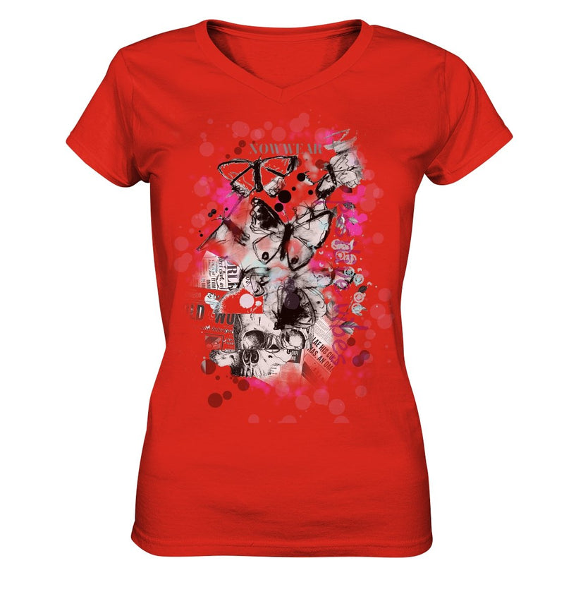 Butterfly V-Neck - Ladies V-Neck Shirt - noWWear by Pink Tattoo