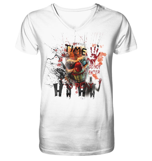 Horror Clown V-Neck - Mens Organic V-Neck Shirt - noWWear by Pink Tattoo