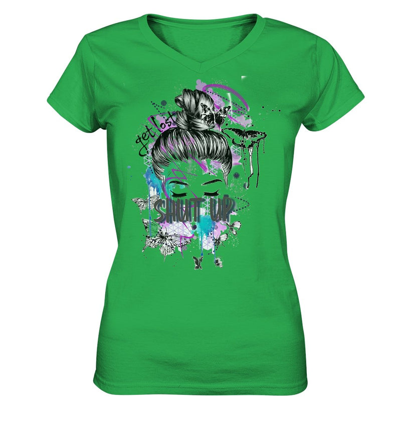 Shut Up V-Neck - Ladies V-Neck Shirt - noWWear by Pink Tattoo