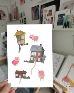 A5 Nursery Print - The Three Little Pigs