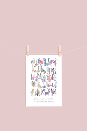 A3 All Things Bright and Beautiful Alphabet Nursery Illustration Print