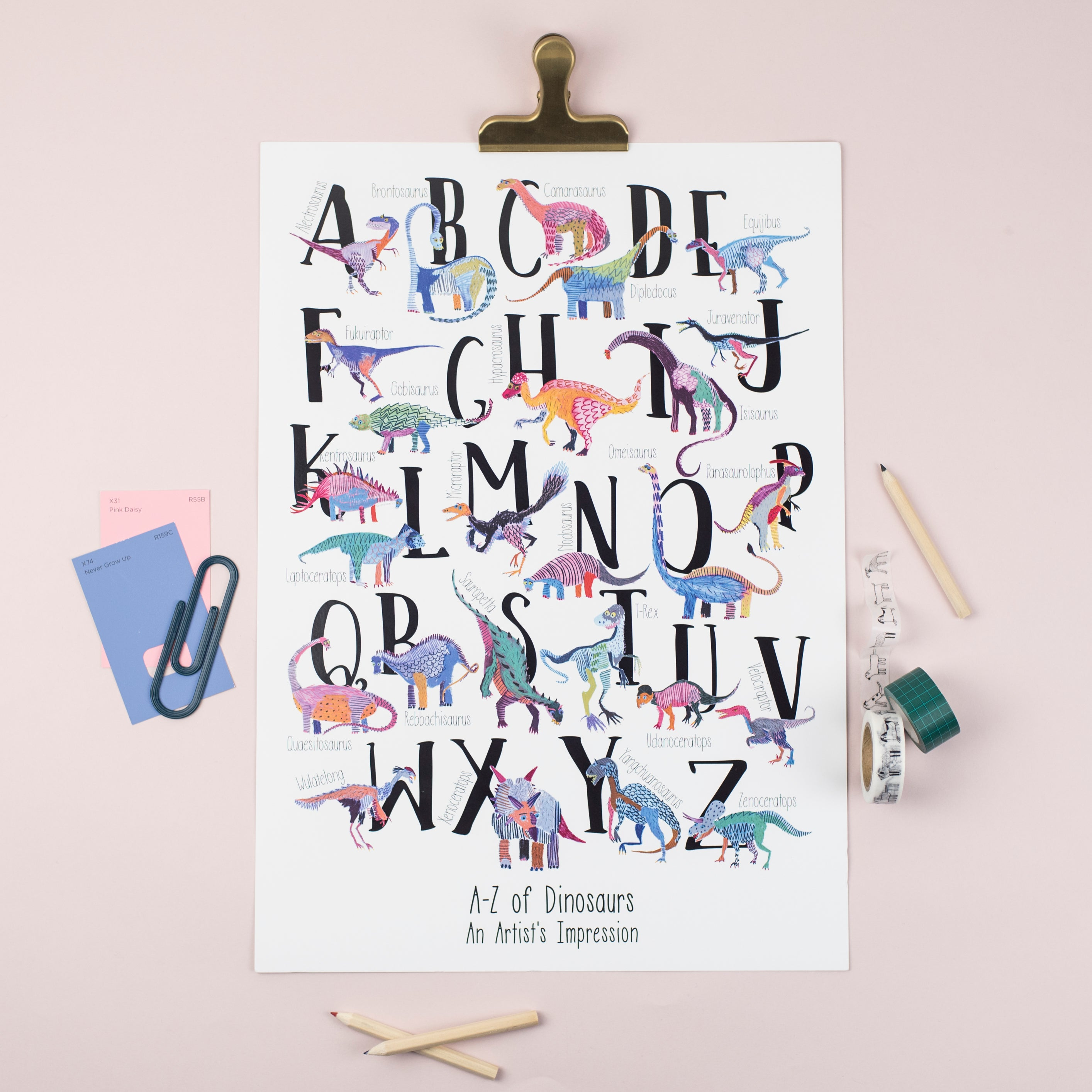 A3 Dinosaur Alphabet Nursery Illustration Print