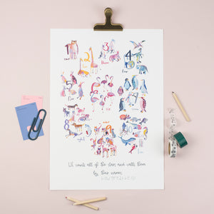 A3 Numbers Bible Verse Nursery Illustration Print