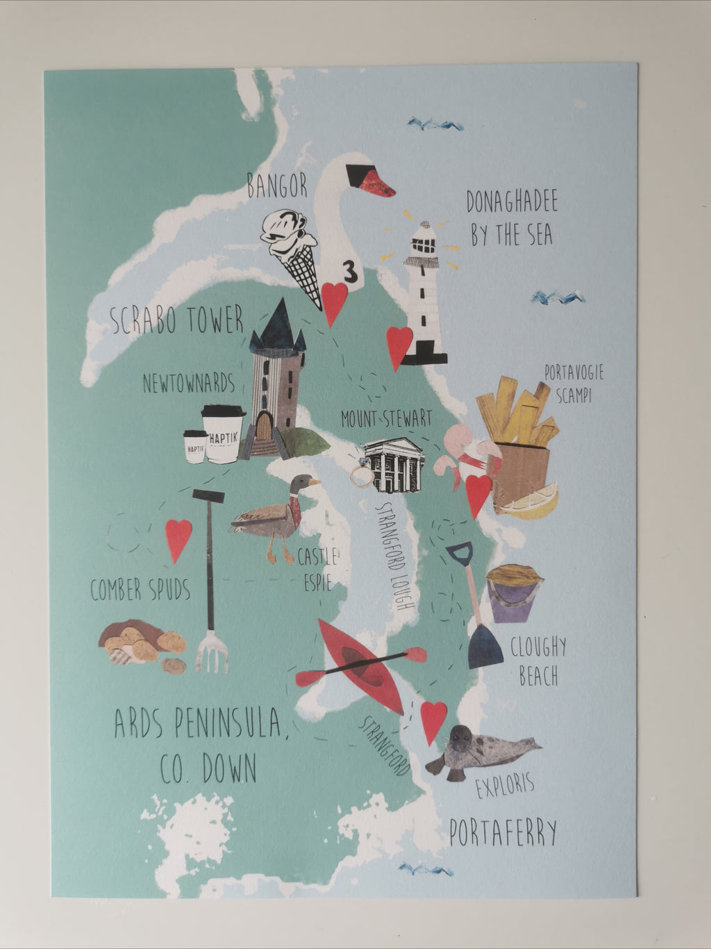 Ards Peninsula, Co Down, Northern Ireland Map Illustration