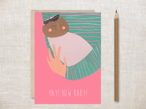 'Yay! New baby' (Pink) Greetings Card