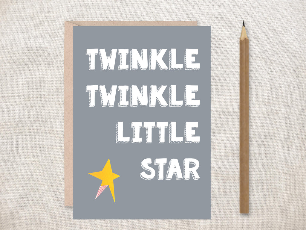'Twinkle Twinkle Little Star (Grey)' Greeting Card