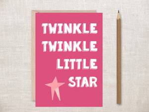 'Twinkle Twinkle Little Star (Pink)' Greeting Card