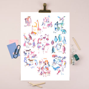 A3 Numbers Nursery Illustration Print